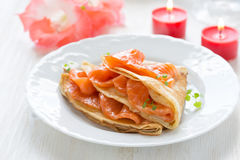 Crepes with smoked salmon Royalty Free Stock Photography