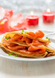 Crepes with smoked salmon Royalty Free Stock Images