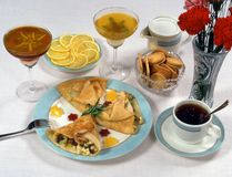 Crepes and snack for tea Stock Photo