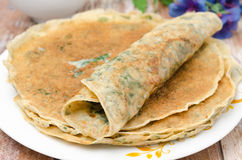 Crepes with spinach closeup Stock Image