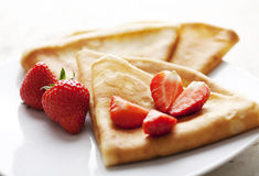 Crepes with strawberries Stock Image