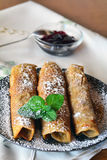 Crepes With Strawberry Jam On The Brown Plate. Pancakes. Stock Photo