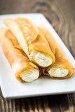 Crepes stuffed with cheese Stock Photo