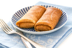Crepes stuffed with cottage cheese. Royalty Free Stock Image