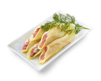 Crepes stuffed with cream cheese and salted salmon Stock Photography