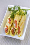 Crepes stuffed with cream cheese and salted salmon Royalty Free Stock Photography