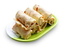 Crepes stuffed with meat and vegetables Royalty Free Stock Photos