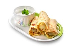 Crepes stuffed with meat and vegetables Royalty Free Stock Image