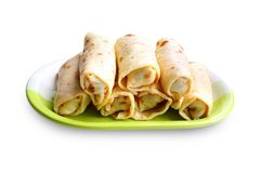 Crepes stuffed with meat and vegetables Stock Photography
