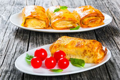 Crepes stuffed with minced meat, mushrooms and vegetables, close royalty free stock photography