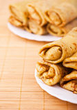 Crepes stuffing plate Royalty Free Stock Photo