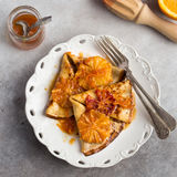 Crepes suzette, delicious pancakes with orange sauce Royalty Free Stock Images