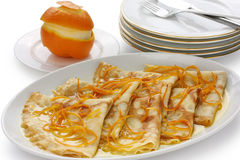 Crepes suzette , french dessert stock images