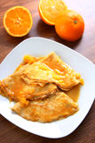 Crepes suzette - pancakes with orange sauce Royalty Free Stock Photography