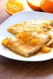 Crepes suzette - pancakes with orange sauce Stock Photos