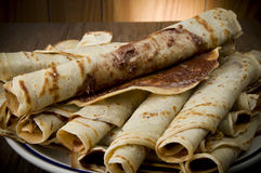 Crepes. Sweet crepes with chocolate cream homemade product Stock Photos