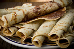Crepes. Sweet crepes with chocolate cream homemade product Royalty Free Stock Photography