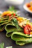 Crepes verdes dos espinafres Foto de Stock
