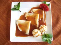 Crepes With Vanilla Ice Cream Stock Images