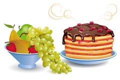 Crepes y frutas Foto de archivo libre de regalías