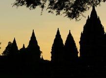 Crepuscolo al tempio di Prambanan Immagini Stock