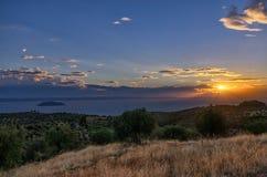 Crepuscolo in Sithonia, Chalkidiki, Grecia Fotografie Stock Libere da Diritti