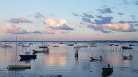 Crepuscolo sopra il d& x27 di Bassin; Arcachon, Cap Ferret, Francia fotografia stock