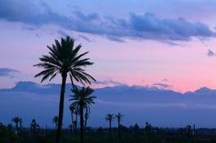 Crepuscolo sopra le montagne di atlante, Marocco Immagini Stock Libere da Diritti