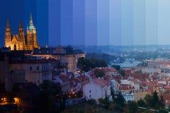 Crepuscolo sopra Praga Collage fantastico Fotografie Stock Libere da Diritti
