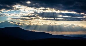Crepuscular rays over the Appalachians, seen from Skyline Drive Stock Photos