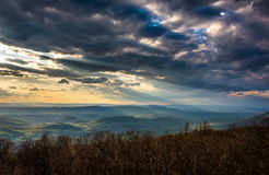 Crepuscular rays over the Appalachians, seen from Skyline Drive Stock Photo