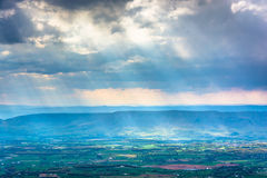 Crepuscular rays over the Shenandoah Valley, seen from Little St Royalty Free Stock Photography