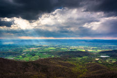 Crepuscular rays over the Shenandoah Valley, seen from Little St Royalty Free Stock Photo