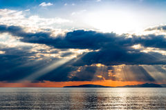Crepuscular rays on Tyrrhenian sea Royalty Free Stock Images