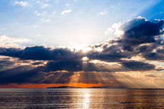 Crepuscular rays on Tyrrhenian sea Royalty Free Stock Photo