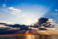 Crepuscular rays on Tyrrhenian sea Stock Image