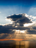 Crepuscular rays on Tyrrhenian sea Stock Photo
