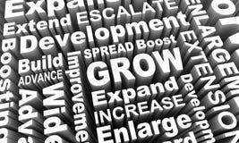 Cresça expandem o aumento adicionou mais colagem 3d da palavra rendem Illustrat Fotos de Stock Royalty Free