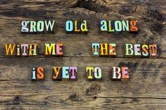 Cresça a melhor tipografia superior de envelhecimento velha do amor imagem de stock