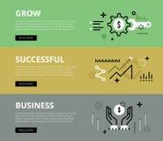 Cresça o negócio bem sucedido Bandeiras do Web ajustadas ilustração do vetor