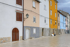 Cres houses. Colourful medieval in row houses at Cres island Stock Photos