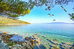 Cres Island, Croatia: View from the beach promenade to the adriatic sea Stock Photos