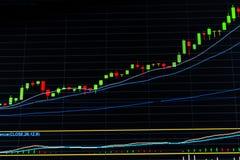 Crescendo acima o gráfico do mercado de valores de ação Mercado em alta Fotografia de Stock Royalty Free