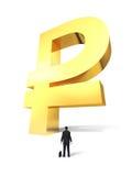 Crescendo acima o sinal do rublo do dinheiro Imagem de Stock