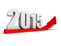 Crescendo acima a seta vermelha de um sucesso de 2015 anos Imagens de Stock Royalty Free