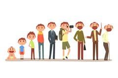 Crescendo di un uomo dall'infante al nonno, ciclo dell'illustrazione di vettore di vita su un fondo bianco illustrazione di stock