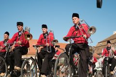 Crescendo Opende Bicycle Band from Netherlands performing at the Sibiu International Theatre Festival from Sibiu, Romania stock photography