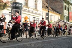 Crescendo Opende Bicycle Band from Netherlands performing at the Sibiu International Theatre Festival from Sibiu, Romania stock photos
