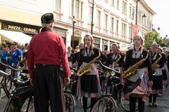 Crescendo Opende Bicycle Band from Netherlands performing at the Sibiu International Theatre Festival from Sibiu, Romania stock photo