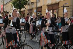Crescendo Opende Bicycle Band from Netherlands performing at the Sibiu International Theatre Festival from Sibiu, Romania stock images